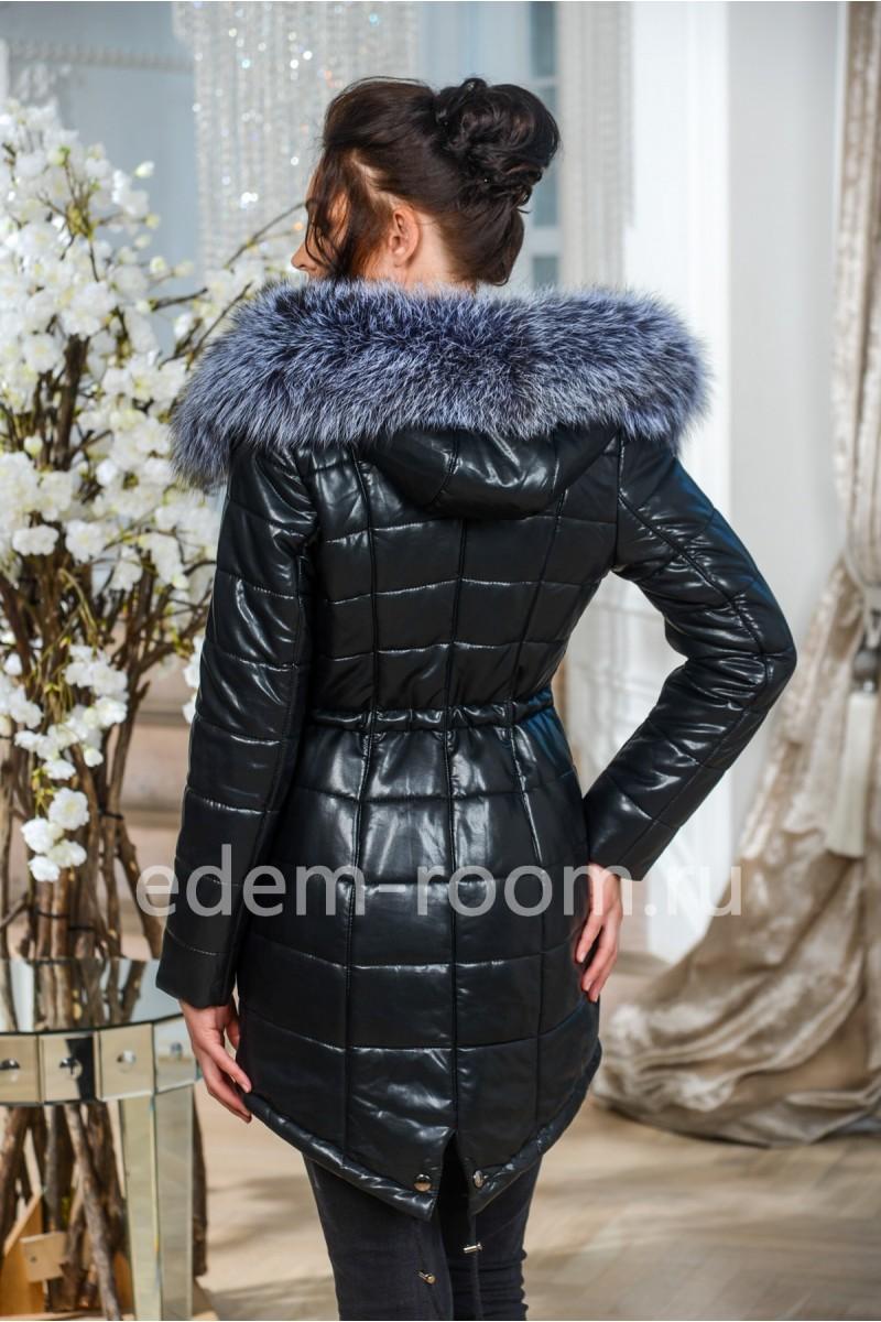 Зимняя куртка - парка  из экокожи