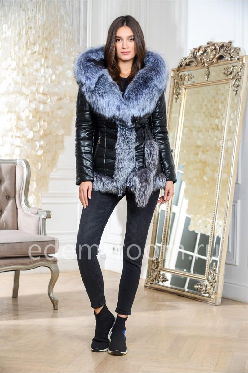 Зимняя куртка из эко-кожи с натуральным мехом
