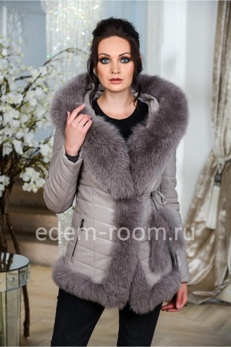Современная куртка из экокожи и натурального меха