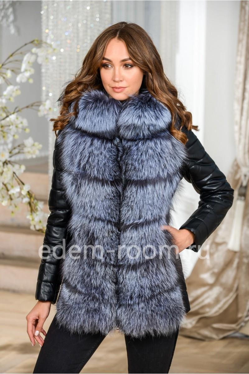 Зимняя куртка - жилетка 2в1 из меха и экокожи