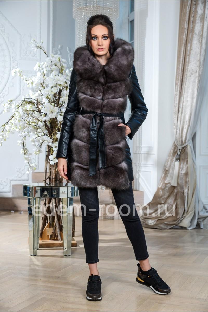 Зимняя куртка-жилетка из экокожи