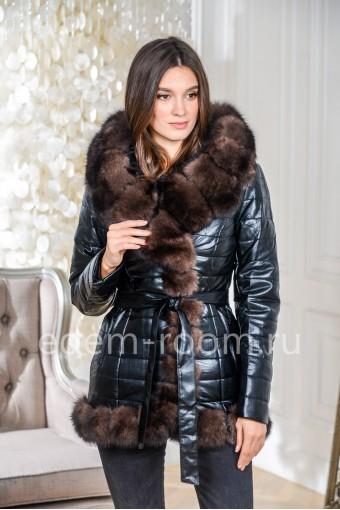 Куртка из эко-кожи с натуральным мехом песца