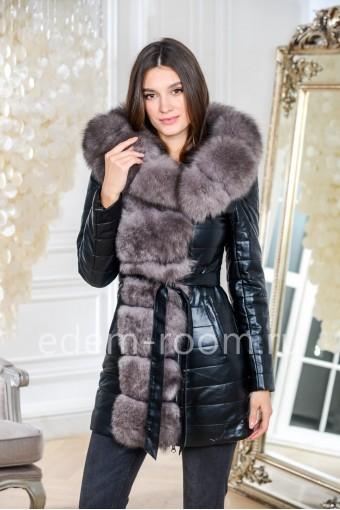 Зимняя куртка из эко-кожи и меха песца