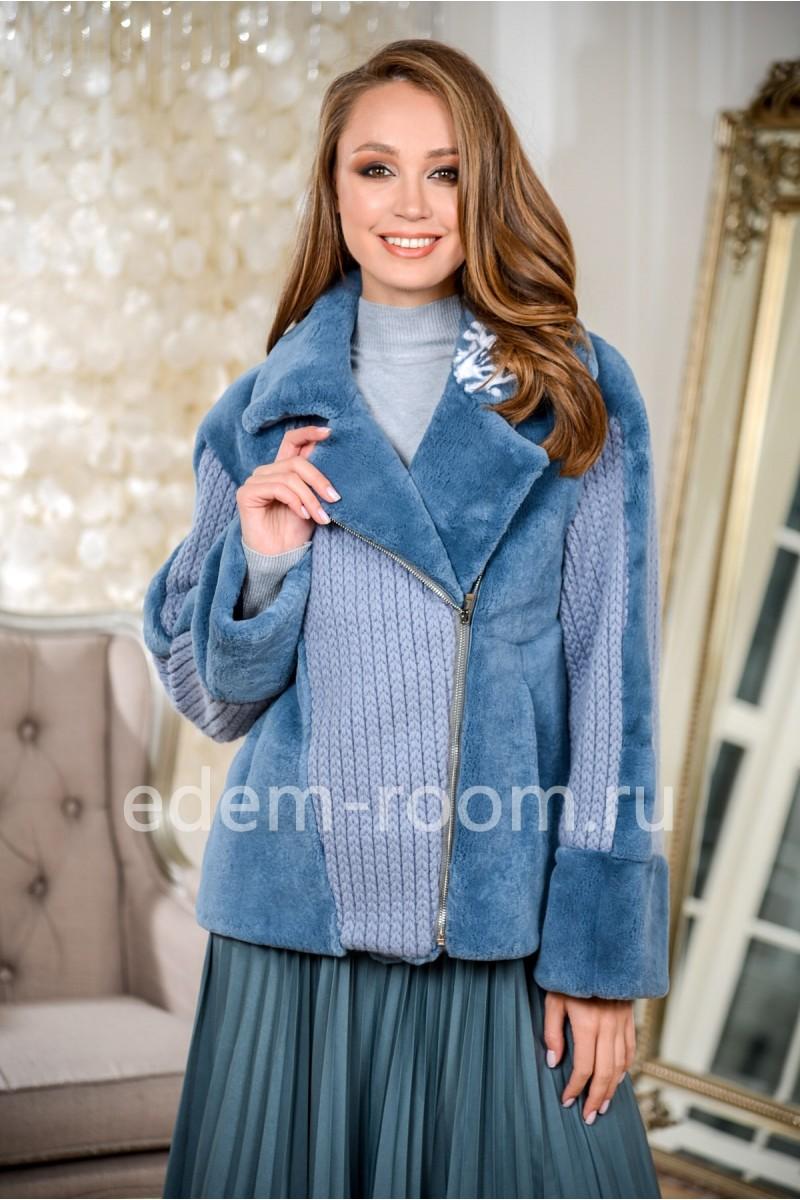Куртка из меха кролика и шерсти