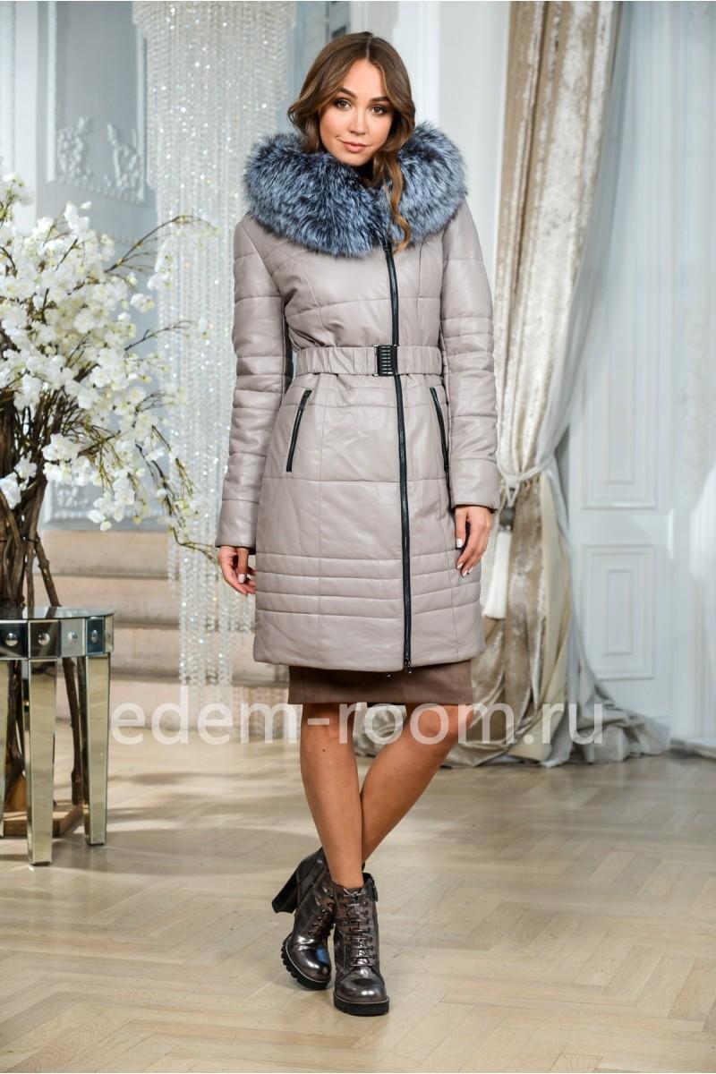 Женское пальто из эко-кожи для зимы
