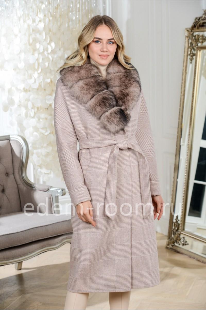 Утепленное пальто с мехом. Хит продаж!