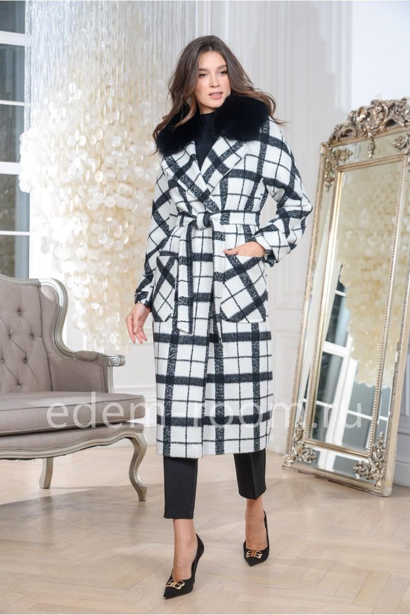 Пальто утепленное в клетку
