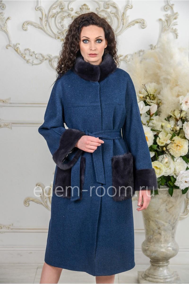 Женское зимнее пальто с норкой