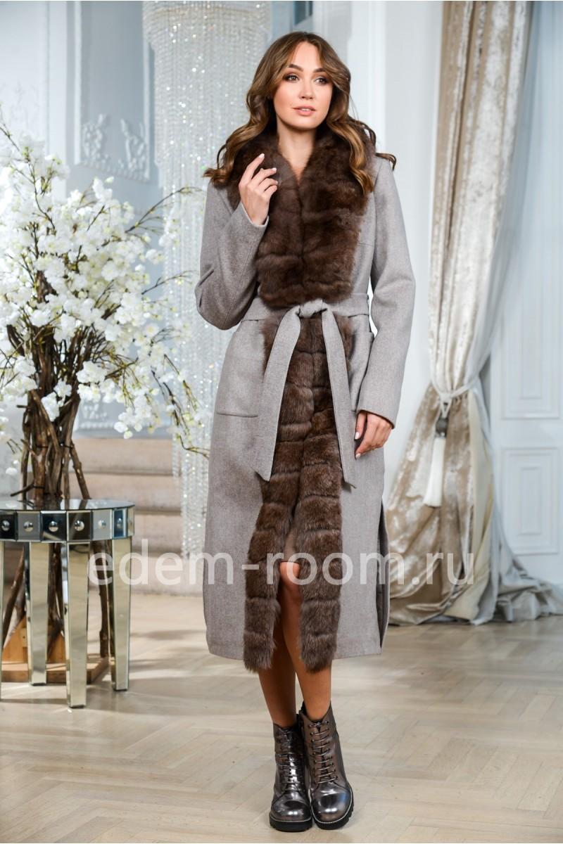 Шерстяное теплое пальто