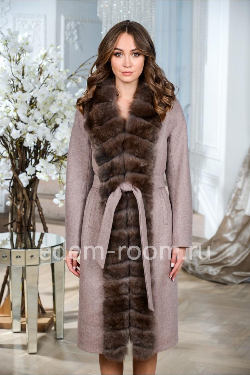Теплое пальто из шерсти альпаки