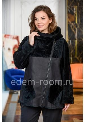 Укороченная дублёнка - куртка с капюшоном