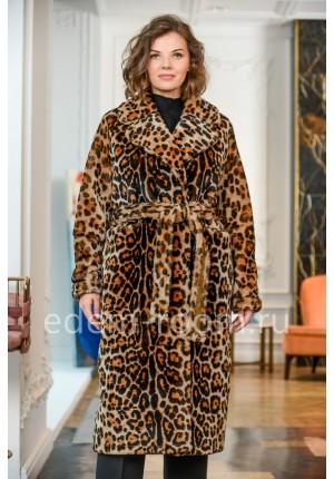 Двухсторонняя итальянская дублёнка в леопарде