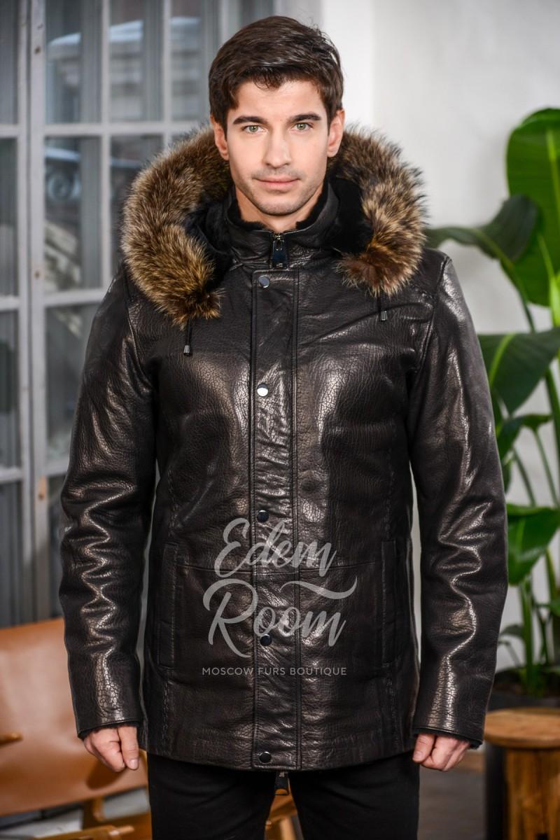 Кожаная куртка мужская с капюшоном и подкладкой