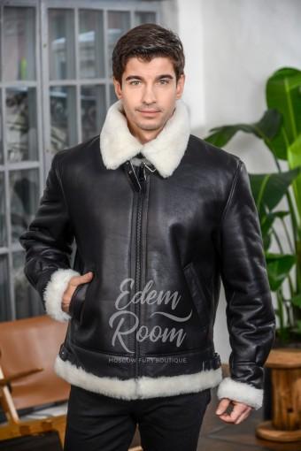 Куртка авиатор кожаная с подкладкой из меха овчины