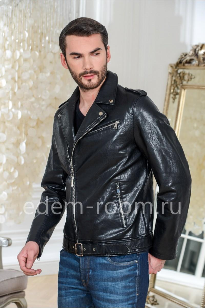 Чёрная куртка - косуха из эко-кожи
