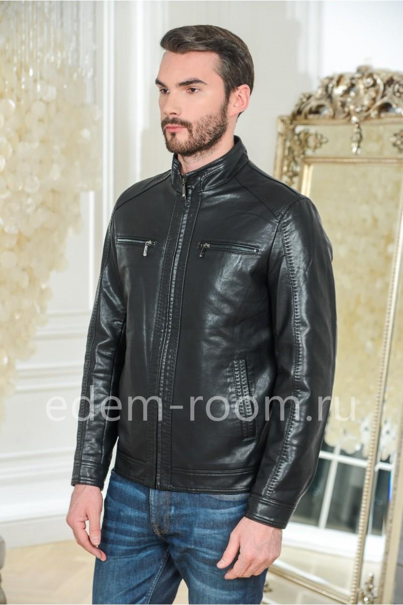 Мужская весенняя куртка из эко-кожи