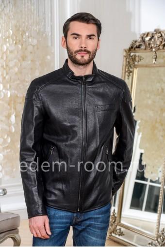 Куртка кожаная черного цвета прямого фасона
