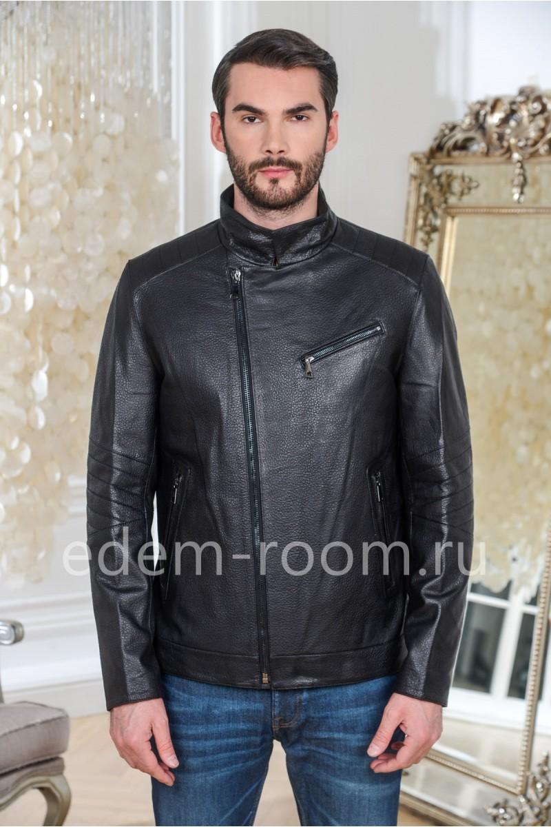 Куртка кожаная черная