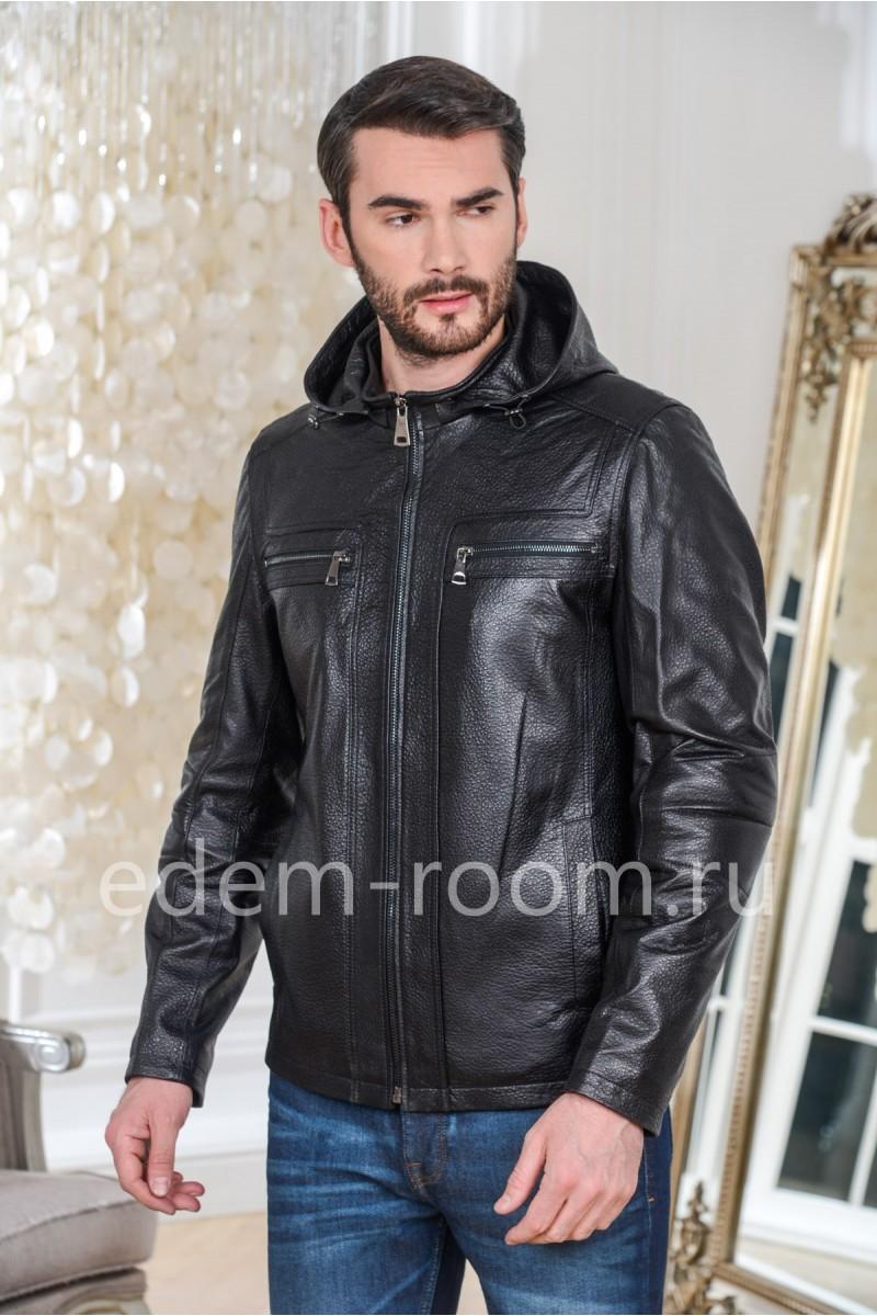 Классическая куртка из натуральной кожи черная с капюшоном