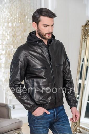 Куртка из натуральной кожи с капюшоном, черная