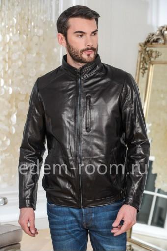 Куртка кожаная - черная