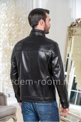 Куртка из натуральной кожи с накладными карманами, черная