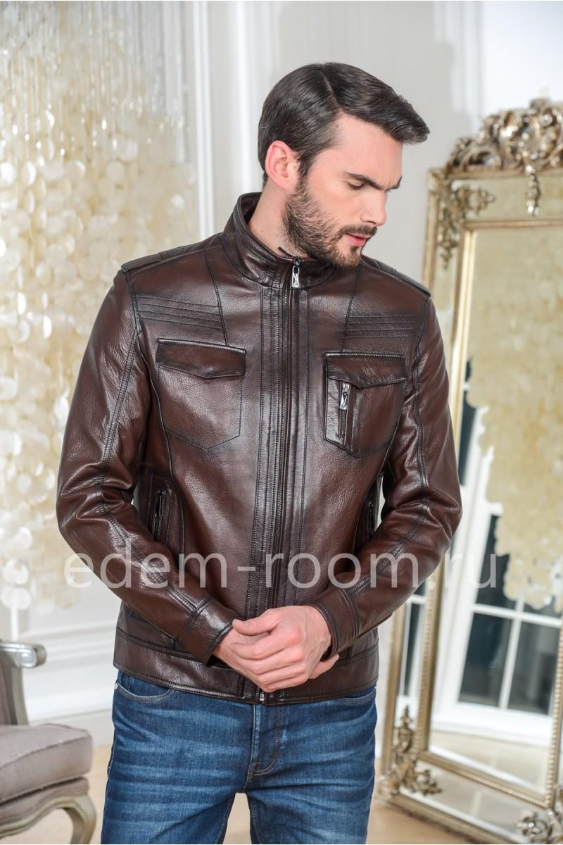 Куртка кожаная Весна-осень 2020, коричневая