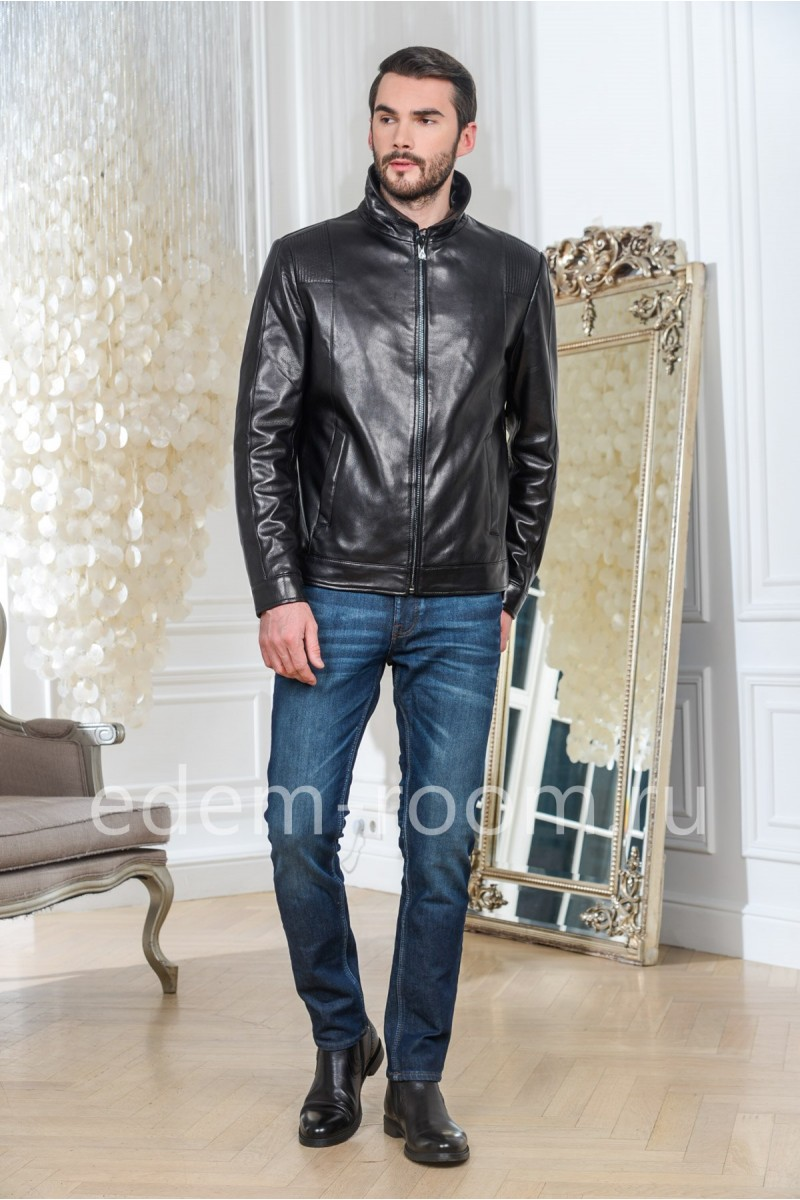 Куртка кожаная черная - классическая