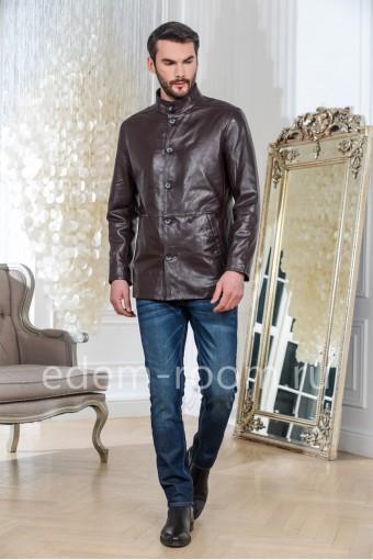 Коричневая куртка из натуральной кожи на пуговицах