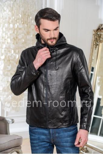 Осенне-весенняя куртка кожаная с капюшоном, черная