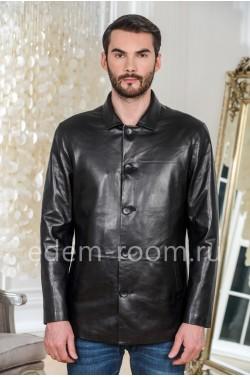 Куртка кожаная черная на пуговицах