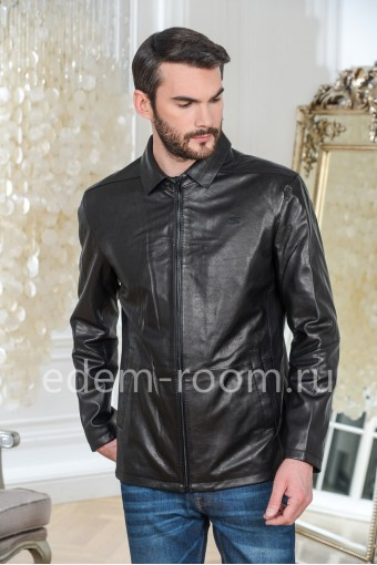 Куртка из натуральной кожи прямого кроя черного цвета