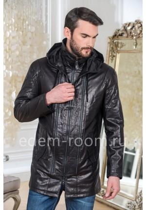 Удлинённая кожаная куртка с капюшоном