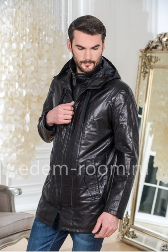 Удлинённая куртка кожаная с капюшоном, черная