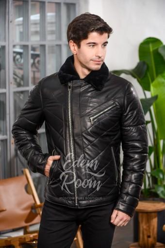 Укороченная зимняя кожаная куртка