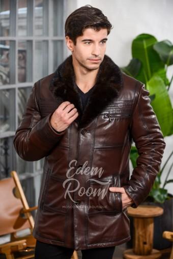 Коричневая зимняя кожаная куртка