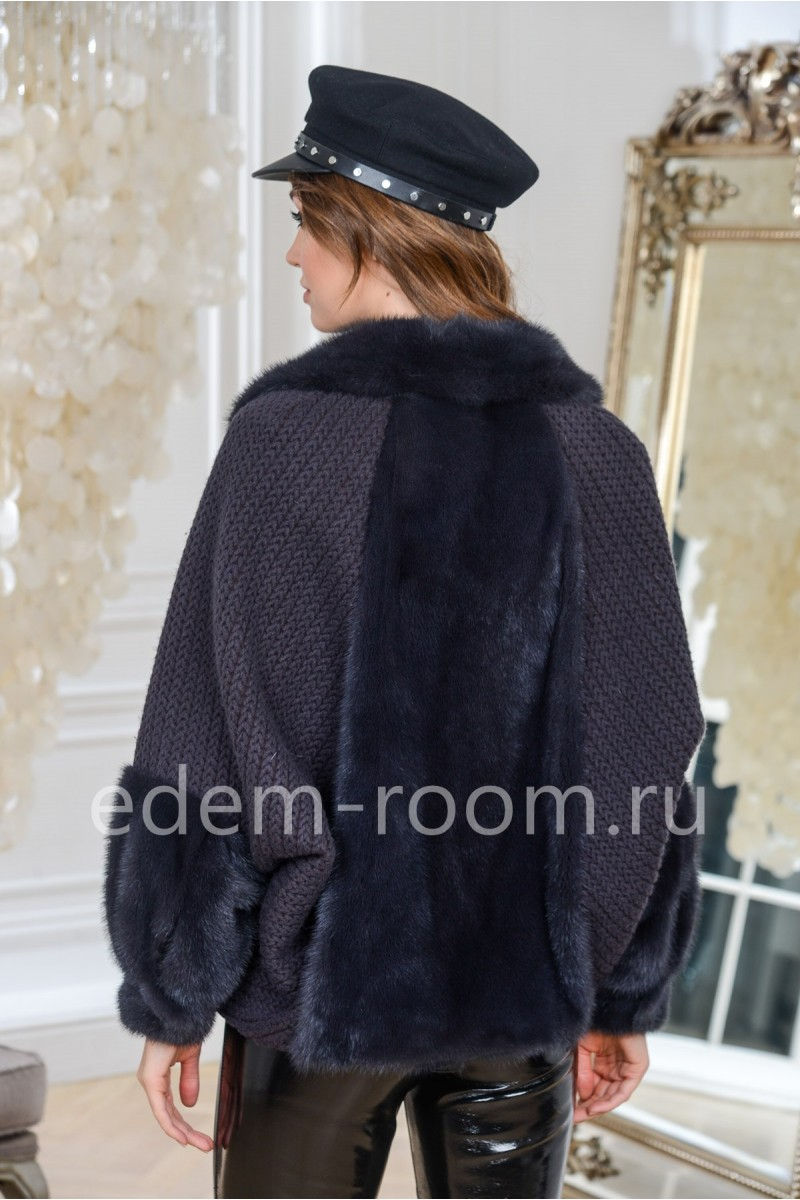 Куртка из меха норки и шерсти