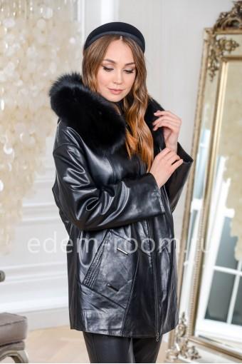 Утеплённая кожаная куртка для больших размеров