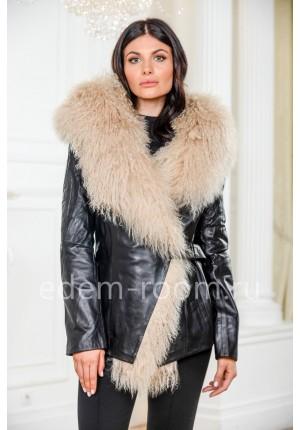 Теплая кожаная куртка с мехом ламы
