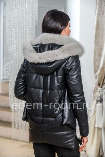 Теплая куртка из натуральной кожи с мехом