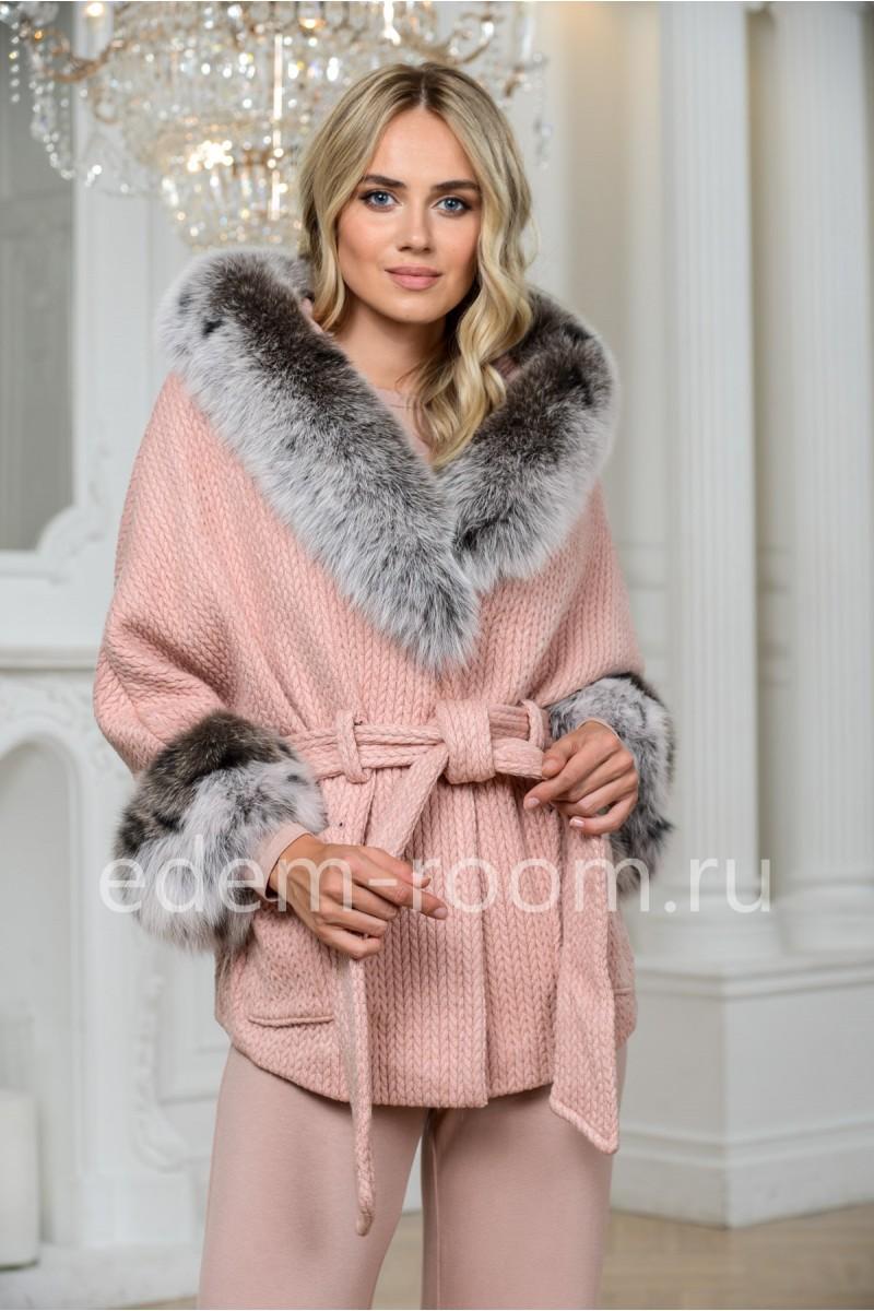 Укороченное пальто из шерсти с поясом