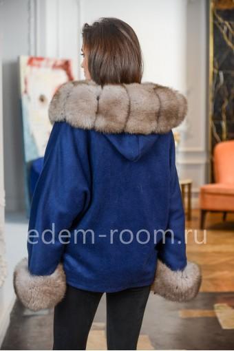 Пальто - пончо с мехом финского песца