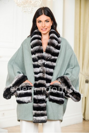 Шерстяное пальто - кардиган с мехом