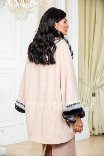 Демисезонное пальто - кардиган с шиншилловым кроликом