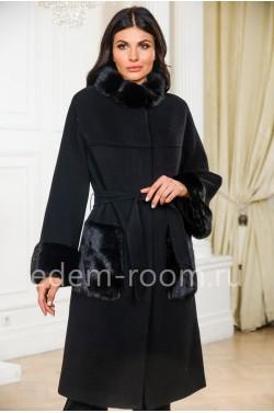 Чёрное шерстяное пальто с мехом норки
