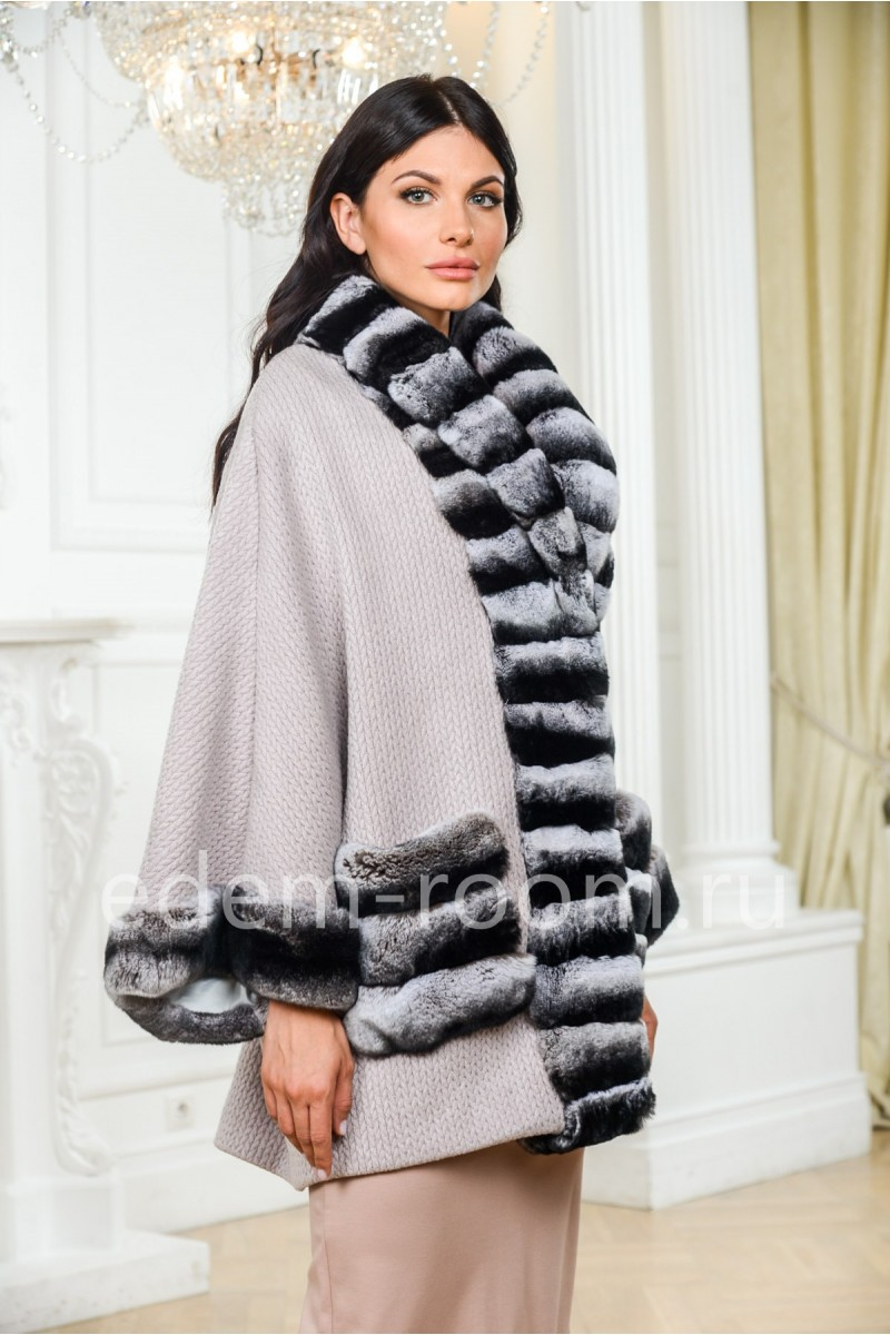 Вязаное пальто - кардиган с мехом кролика