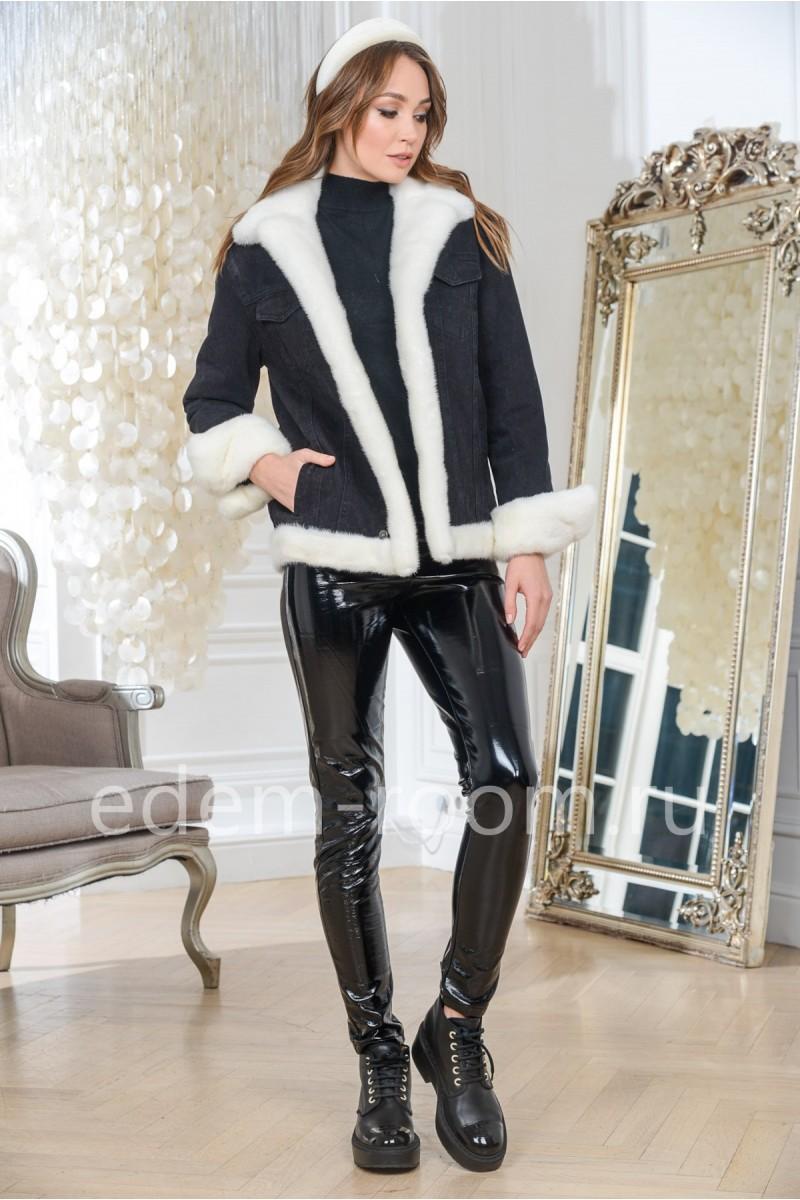 Куртка черная джинсовая с мехом норки