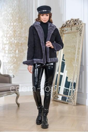 Куртка джинсовая с мехом норки