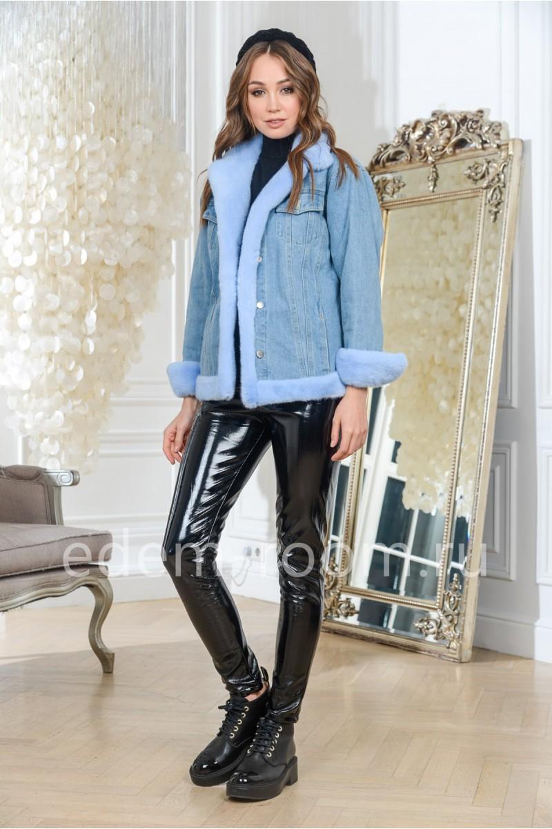 Куртка джинсовая с меховыми манжетами