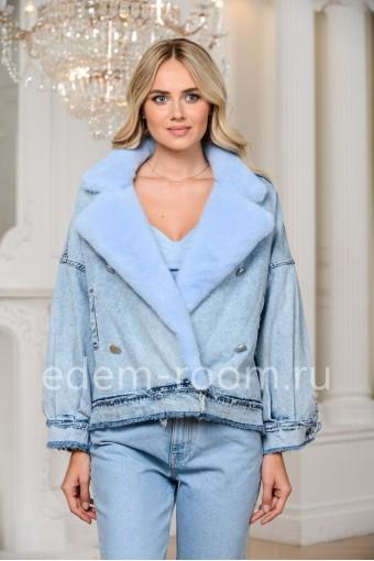 Теплая джинсовая куртка -косуха с мехом норки